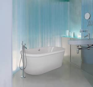 Hydro Systems Estee 72 x 36 in. 68 gal Acrylic and Fiberglass Oval Freestanding Bathtub with Center Drain in White HEST7236ATOWHI