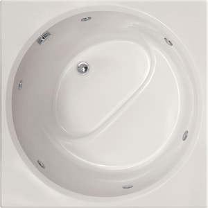 Hydro Systems Fuji 40 in. 65 gal Gelcoat and Fiberglass Drop-In Round in Square Whirlpool Bathtub in White HFUJ4040GWPWHI
