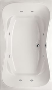Hydro Systems Monterey 60 x 42 in. Whirlpool Drop-In Bathtub with Center Drain in White HMON6042AWPWHI
