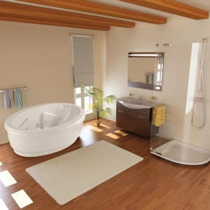 Hydro Systems Savannah 23 x 74 x 44 in. Acrylic Oval Tub with Whirlpool System and Center Drain HSAV7444AWP