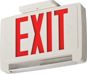 Lithonia Lighting Battery Back Up LED Exit/Emergency Combo Light Red Letters with LED Emergency Light Bar LECBRLEDM6
