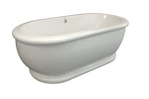 Hydro Systems Domingo 66 x 36 in. 75 gal Acrylic Oval Soaking Bathtub with Rear Drain in Biscuit HMDM6636ATOBIS