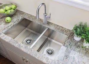 Moen 1800 Series 2-Bowl Undermount Kitchen Sink with Rear Drain in Stainless Steel MG18288
