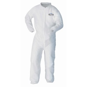 Kimberly Clark Kleenguard™ A10 L Size Fabric Coverall with Zipper Front, Elastic Wrist and Ankle in White (Case of 25) K10468