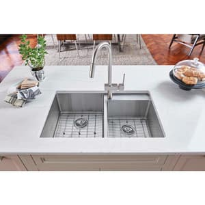 Elkay Crosstown® 32-1/2 x 20-1/2 in. 1-Hole 2-Bowl Undermount 304 Stainless Steel Kitchen Sink with Rear Center Drain in Polished Satin EECTRUD31199RDBG1