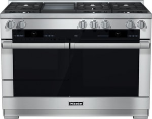 Miele Appliances 47-15/16 in. 6-Burner Dual Fuel Natural Gas Range with Touch Speed Oven in Stainless Steel MHR1956DFGD