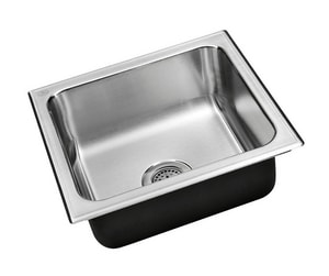 Just Manufacturing Stylist Group 1-Bowl Drop-In, Self-Rimming and Topmount Square Kitchen Sink with Center Drain in Stainless Steel JSADA1717A65DCR