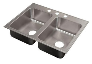 Just Manufacturing Stylist ADA 3-Hole 2-Bowl Drop-In Stainless Steel Kitchen Sink with Faucet Ledge in Polished Satin JDLADA2233A155DCR
