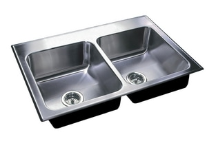 Just Manufacturing Stylist Group 3-Hole 2-Bowl Kitchen Sink in Stainless Steel JDL2037B3