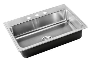 Just Manufacturing Stylist Group 3-Hole 1-Bowl Topmount Rectangular Kitchen Sink with Faucet Ledge in Satin JSL2133A3