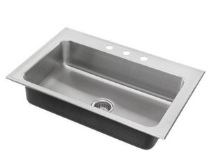 Just Manufacturing Stylist Group 31 x 22 in. 3 Hole Stainless Steel Single Bowl Drop-in Kitchen Sink in No. 4 JSLADA2231A365DCR