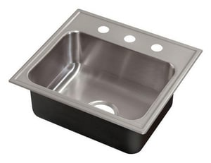 Just Manufacturing Stylist ADA 3-Hole 1-Bowl Topmount Rectangular Kitchen Sink with Faucet Ledge in Stainless Steel JSLADA1921A16DCR
