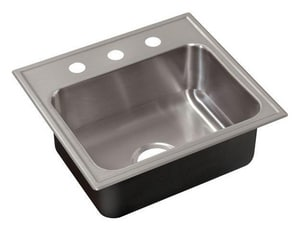 Just Manufacturing Stylist ADA 4-Hole 1-Bowl Drop-In, Self-Rimming and Topmount Rectangular Kitchen Sink with Center Drain in Stainless Steel JSLADA2217A455DCC