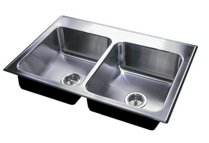 Just Manufacturing Stylist ADA 3-Hole 2-Bowl Drop-In, Self-Rimming and Topmount Rectangular Kitchen Sink with Center Drain in Stainless Steel JDLADA1933A35DCC
