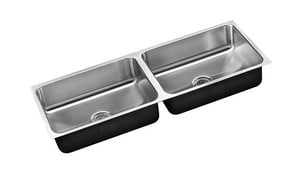Just Manufacturing Stylist Undermount 42 x 18 in. No Hole Stainless Steel Double Bowl Undermount Kitchen Sink in No. 4 JUD1842A