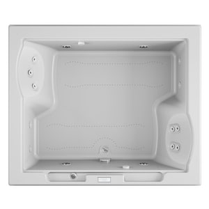 JACUZZI® Fuzion® 71-3/4 x 59-3/4 in. Whirlpool Drop-In Bathtub with Center Drain in White JFUZ7260CCR4IWW