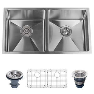 Miseno 10 in. 16 ga 2-Bowl Undermount Kitchen Sink in Stainless Steel MNO163219SR5050