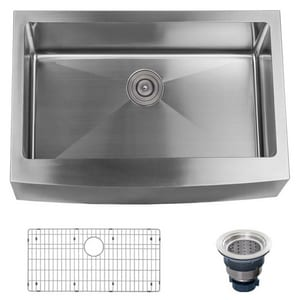 Miseno 10 in. 16 ga 1-Bowl Farmhouse Kitchen Sink in Stainless Steel MNO163020F