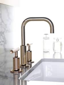 Kohler Purist® Two Handle Widespread Bathroom Sink Faucet in Vibrant Rose Gold K14406-4-RGD
