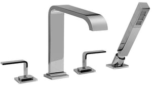 Graff Immersion 7 gpm 4 Hole Roman Tub Faucet with Double Lever Handle in Polished Chrome GG2356LM40PC