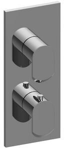Graff M-Series Wall Mount Square Thermostatic Valve Trim Plate with Double Lever Handle in Brushed Nickel GG8048LM45E0BNIT