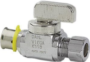 Viega PureFlow® 1/2 in x 1/4 in Lever Handle Straight Supply Stop Valve in Polished Chrome V94031