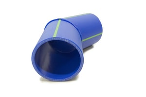 Aquatherm Blue Pipe® 4 in. Butt Weld Straight DR 11 Fusiolen® PP-R Faser-Composite and Polypropylene SD 45 Degree Elbow in Blue A75125
