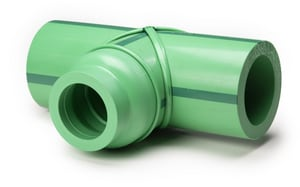 Aquatherm 6 in. Straight SDR 7.4 Plastic Tee in Green with 1 ft. Extension A113130L