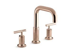 KOHLER Purist® Two Handle Roman Tub Faucet in Vibrant Rose Gold Trim Only KT14428-4-RGD