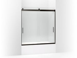 KOHLER Levity® 59-5/8 x 1/4 in. Frameless Crystal Clear Tub and Shower Door with Blade Handle in Anodized Dark Bronze K706000-L-ABZ