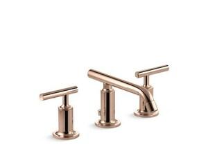 KOHLER Purist® Two Handle Bathroom Sink Faucet in Vibrant Rose Gold K14410-4-RGD