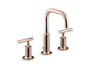 KOHLER Purist® Two Handle Widespread Bathroom Sink Faucet in Vibrant Rose Gold K14406-4-RGD