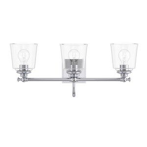 Park Harbor® Antonia 25-1/4 in. 100W 3-Light Medium E-26 Bath Light with Clear Glass in Polished Chrome PHVL3013