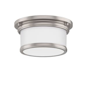 Park Harbor® Summerlake 9-1/2 in. 100W 1-Light Wide Flushmount Drum Ceiling Fixture with Frosted Glass Shade in Brushed Nickel PHFL4031BN
