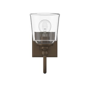 Park Harbor® Antonia 5-1/2 in. 100W 1-Light Medium E-26 Bath Light with Clear Glass in Plated Oxidized Bronze PHVL3011BRZ