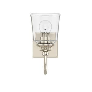 Park Harbor® Antonia 5-1/2 in. 100W 1-Light Medium E-26 Bath Light with Clear Glass in Polished Nickel PHVL3011PN