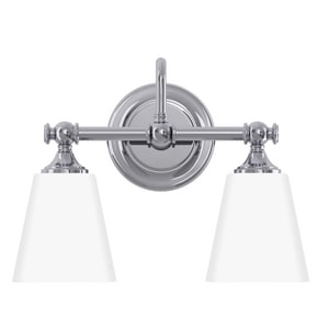 Park Harbor® Matina 14 in. 100W 2-Light Medium E-26 Bath Light with Frosted Glass in Polished Chrome PHVL2062PC