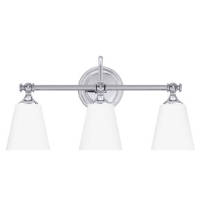 Park Harbor® Matina 21 in. 100W 3-Light Medium E-26 Bath Light with Frosted Glass in Polished Chrome PHVL2063PC