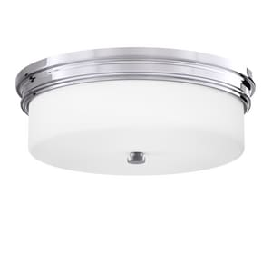 Park Harbor® Meechums 5-1/2 x 16 in. 75W 3-Light Medium E-26 Flush Mount Ceiling Fixture in Polished Chrome PHFL4063PC