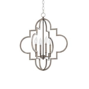 Park Harbor® 60W 4-Light Candelabra E-12 Pendant in Gilded Silver PHPL5654GS