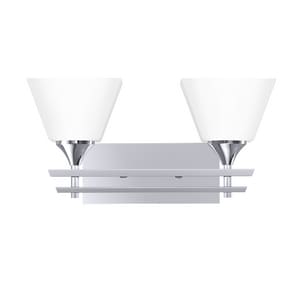 Park Harbor® McBryde 17-1/8 in. 100W 2-Light Medium E-26 Bath Light with Frosted Glass in Polished Chrome PHVL2232