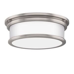 Park Harbor® Summerlake 15-1/2 in. 3-Light 25W Wide Flushmount Drum Ceiling Fixture with Frosted Glass Shade in Brushed Nickel PHFL4033BN