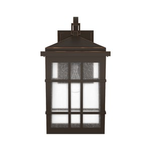 Park Harbor® Ambler 10 in. 100W 1-Light Tall Outdoor Wall Sconce with Seedy Glass Shade in Oil Rubbed Bronze PHEL3302ORB