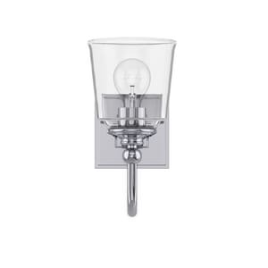 Park Harbor® Antonia 5-1/2 in. 100W 1-Light Medium E-26 Bath Light with Clear Glass in Polished Chrome PHVL3011PC