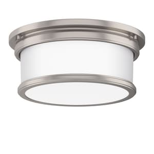 Park Harbor® Summerlake 12-1/2 in. 37.5W 2-Light Wide Flushmount Drum Ceiling Fixture with Frosted Glass Shade in Brushed Nickel PHFL4032BN
