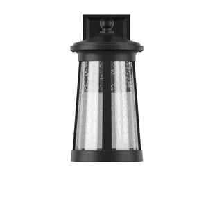 Park Harbor® Woodberry 9-3/4 in. 12W 1-Light Tall Integrated LED Outdoor Wall Sconce with Seedy Glass Shade in Black PHEL3104BLKLED