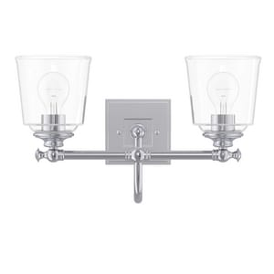 Park Harbor® Antonia 17-3/8 in. 100W 2-Light Medium E-26 Bath Light with Clear Glass in Polished Chrome PHVL3012