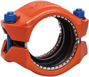 Victaulic FireLock™ Style 905 3 in. Plain End Straight Painted Ductile Iron and Plastic Coupling with T Gasket VL905PT0