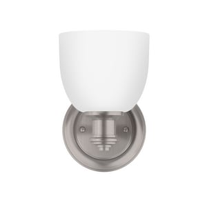 Park Harbor® Peebles 8-3/8 x 5-3/8 in. 100W 1-Light Medium E-26 Vanity Fixture in Brushed Nickel PHVL2131