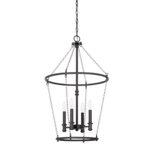 Capital Lighting Fixture Lancaster 60W 4-Light Candelabra E-12 Incandescent Foyer Lighting in Black Iron C528742BI